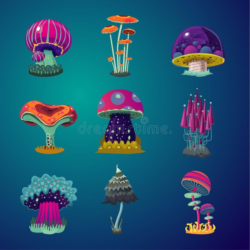 Den magiska tecknade filmen plocka svamp symbolsuppsättningen Illustration för fantasiobjektvektor Beståndsdelsamling för modig d royaltyfri illustrationer