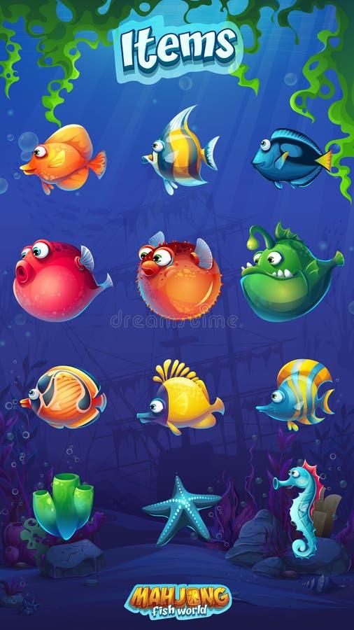 Den Mahjong fiskvärlden - ställ in av rolig fisk för tecknad film royaltyfria bilder