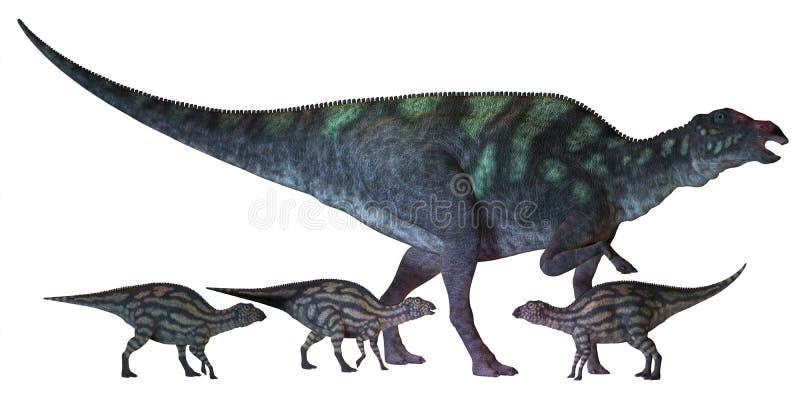 Den Maiasaura dinosaurien med behandla som ett barn vektor illustrationer