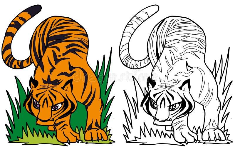 Den majestätiska tigern stock illustrationer