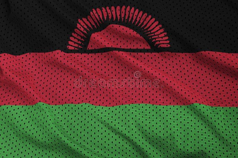 Den Malawi flaggan skrivev ut på ett tyg för ingrepp för polyesternylonsportswear royaltyfria foton