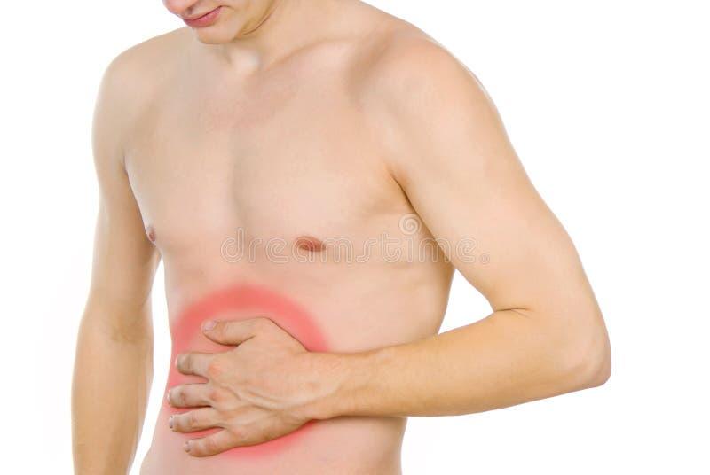 Den Male torsoen, smärtar i magen arkivbild