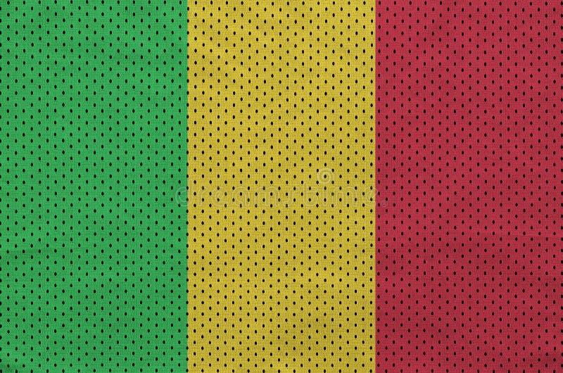 Den Mali flaggan skrivev ut på wi för ett tyg för ingrepp för polyesternylonsportswear arkivbilder