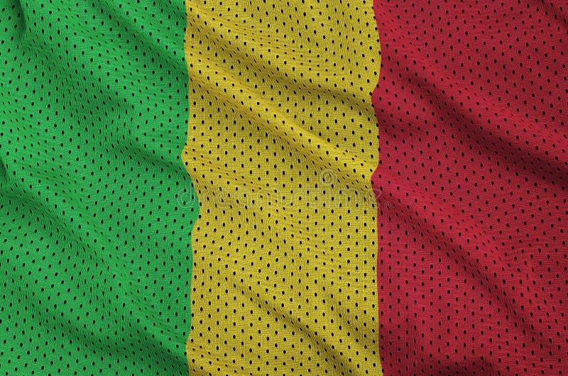 Den Mali flaggan skrivev ut på wi för ett tyg för ingrepp för polyesternylonsportswear fotografering för bildbyråer