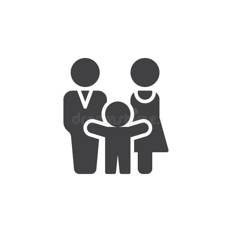 Den man-, kvinna- och barnsymbolsvektorn, fyllde det plana tecknet, den fasta pictogramen som isolerades på vit stock illustrationer