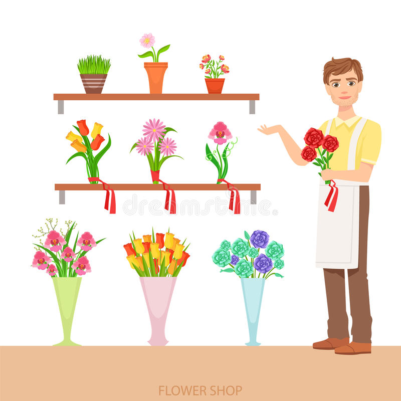 Den manliga blomsterhandlaren In The Flower shoppar visa sortimentet royaltyfri illustrationer