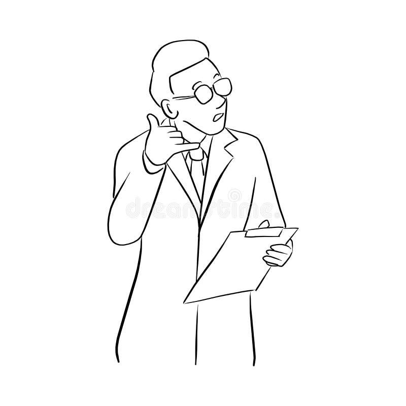 Den manliga doktorn som visar en illustration för påringninggestvektor, skissar klotterhanden som dras med svarta linjer som isol royaltyfri illustrationer
