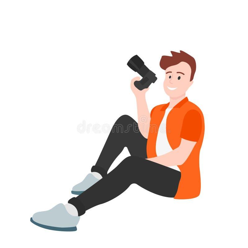 Den manliga fotografen sitter med en kamera i hans hand stock illustrationer