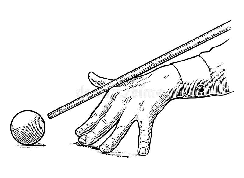 Den manliga handen i en skjorta är den siktade stickrepliken bollen vektor illustrationer