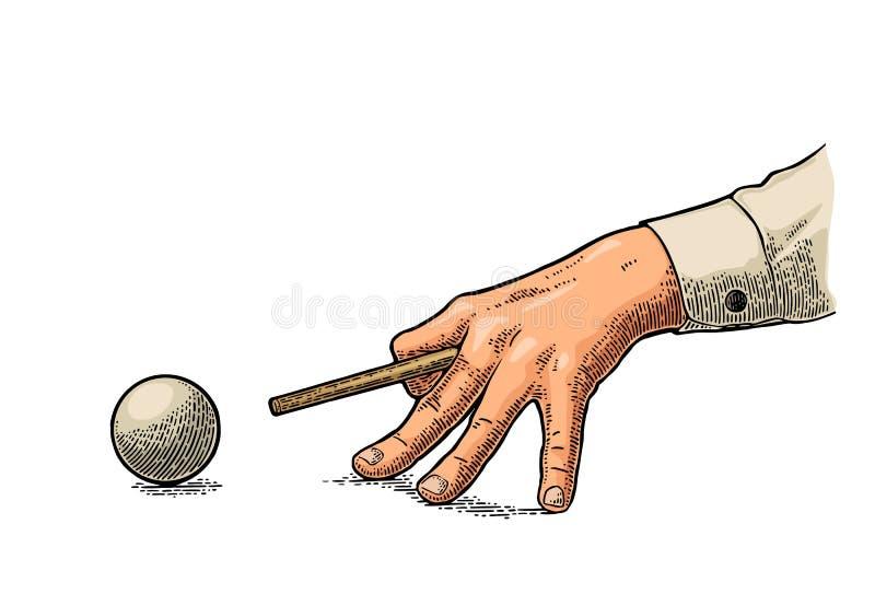 Den manliga handen i en skjorta är den siktade stickrepliken bollen stock illustrationer