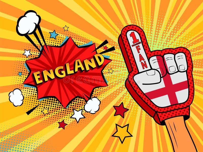 Den manliga handen i handsken för landsflaggan av en sportfan som lyfts upp att fira seger och England anförande, bubblar med stj vektor illustrationer