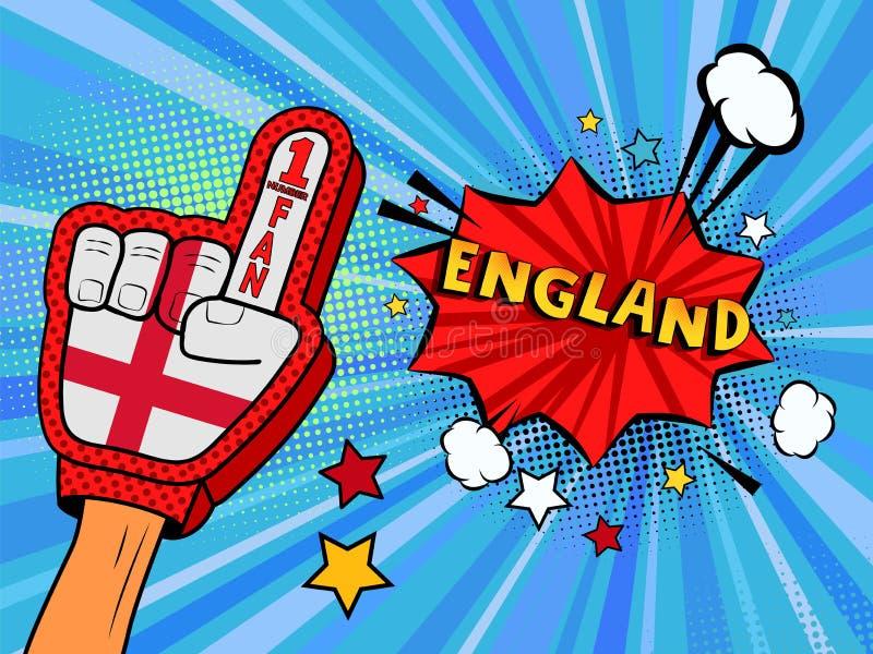 Den manliga handen i handsken för landsflaggan av en sportfan som lyfts upp att fira seger och England anförande, bubblar med stj stock illustrationer