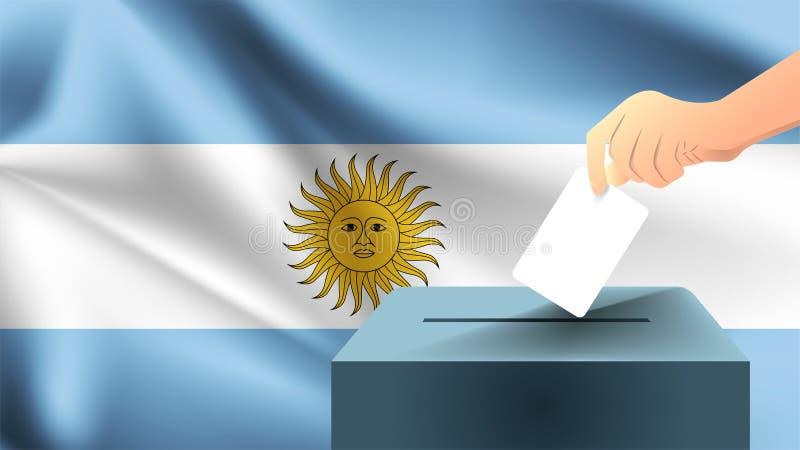 Den manliga handen sätter ner ett vitt ark av papper med en fläck som ett symbol av en valsedel mot bakgrunden av den Argentina f vektor illustrationer