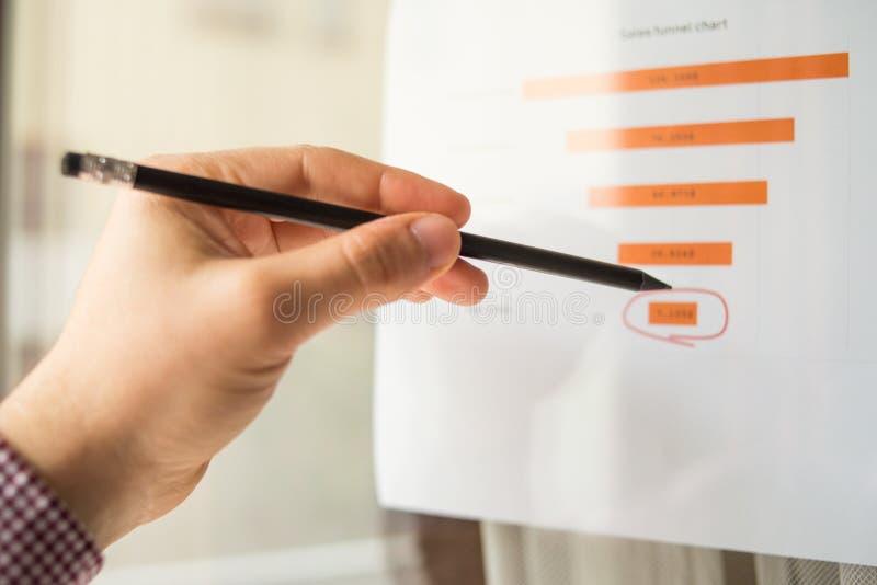 Den manliga handen som pekar på ett färgat trattdiagram, skrivev ut på ett vitt ark av papper under ett affärsmöte arkivbild