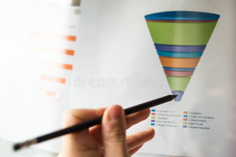 Den manliga handen som pekar på ett färgat trattdiagram, skrivev ut på ett vitt ark av papper under ett affärsmöte arkivfoton