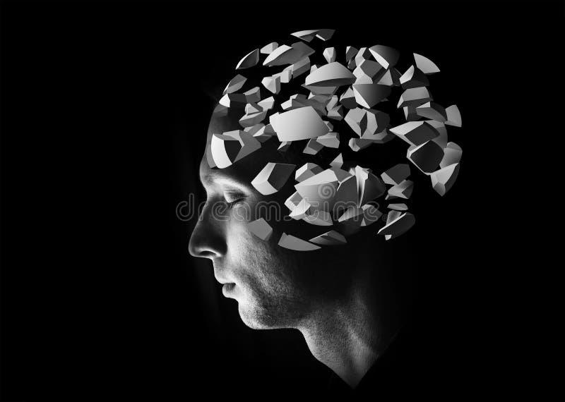 Den manliga head profilen med hjärnan för explosionen 3d fragmenterar stock illustrationer