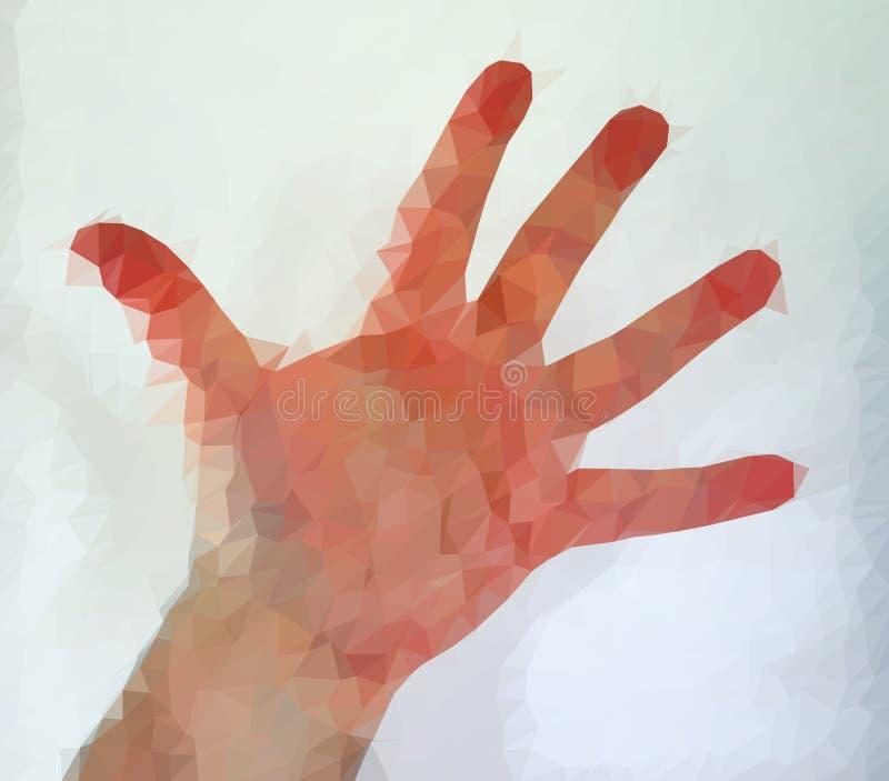 Den manliga m?nniskan polygonized handen som visar olika gester fotografering för bildbyråer