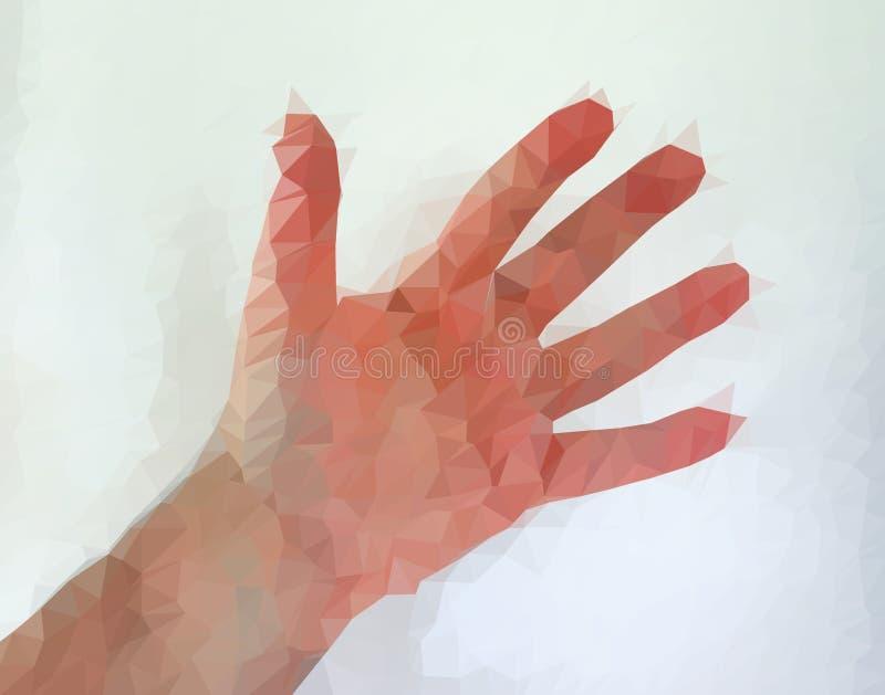 Den manliga m?nniskan polygonized handen som visar olika gester arkivfoto