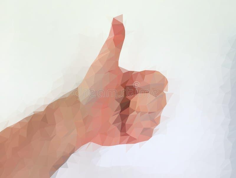 Den manliga m?nniskan polygonized handen som visar olika gester royaltyfria foton