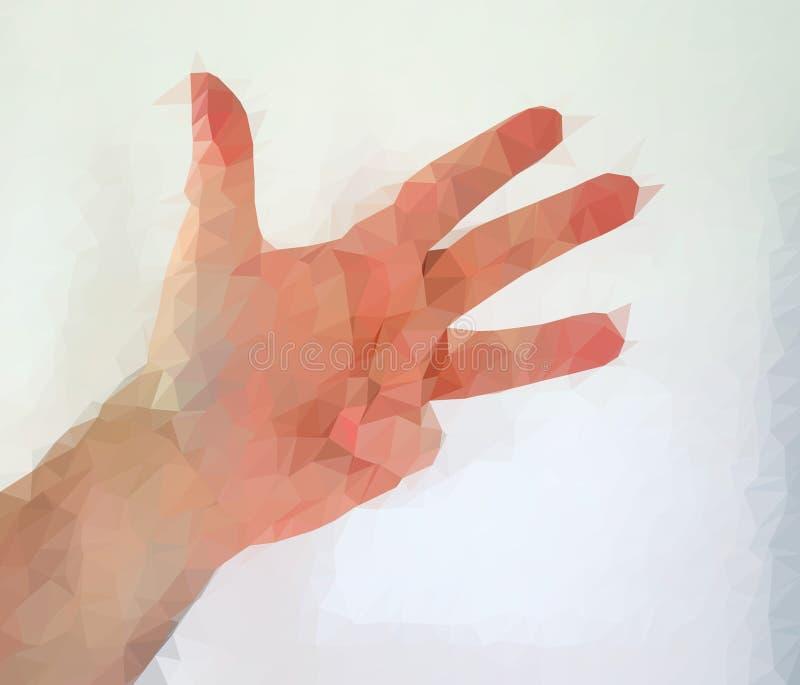 Den manliga m?nniskan polygonized handen som visar olika gester royaltyfria bilder