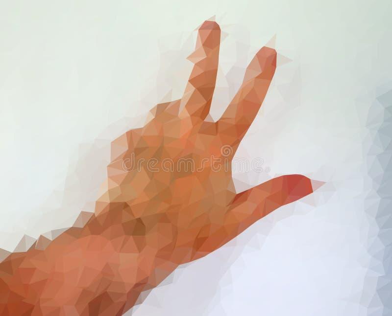 Den manliga m?nniskan polygonized handen som visar olika gester royaltyfri fotografi
