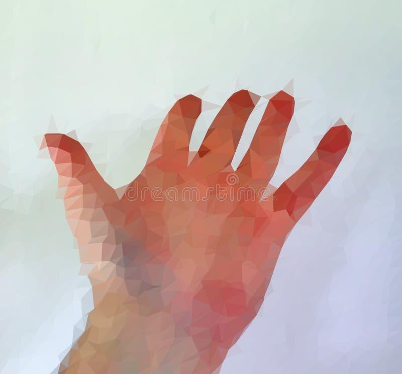 Den manliga m?nniskan polygonized handen som visar olika gester royaltyfri bild