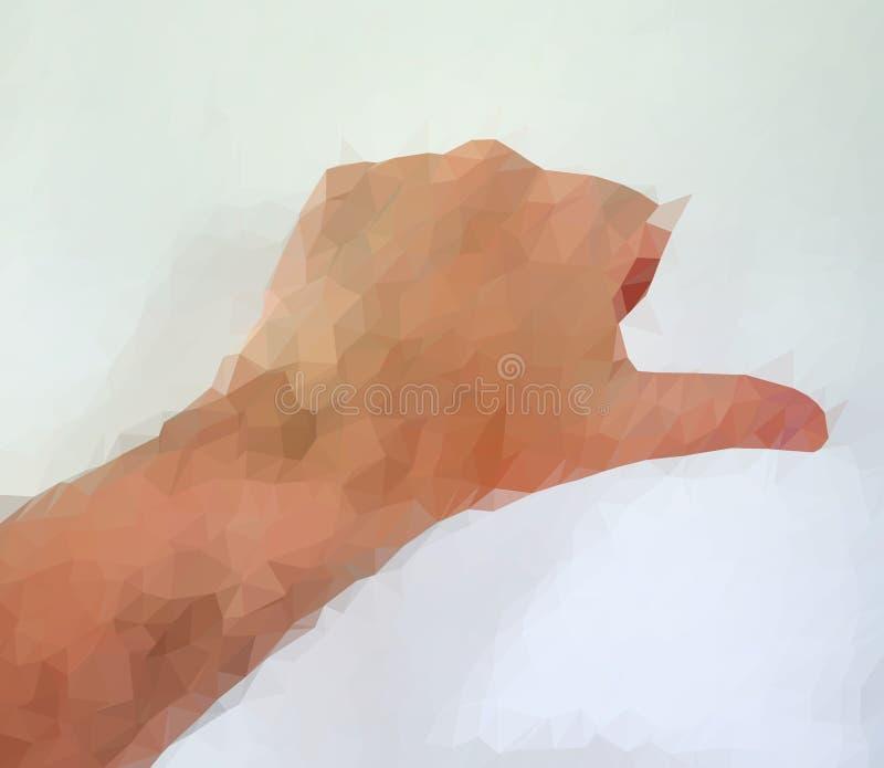 Den manliga m?nniskan polygonized handen som visar olika gester royaltyfri foto