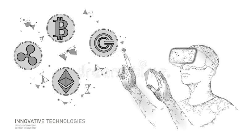 Den manliga moderna affärsmannen klarar av blockchainsystemet Operation för data för virtuell verklighethjälpadministration hörlu royaltyfri illustrationer