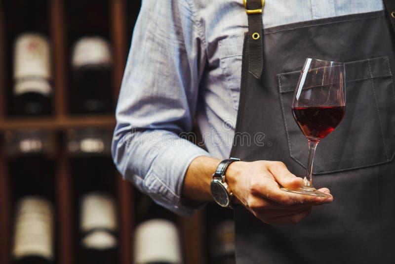 Den manliga sommelieren rymmer bokal med rött vin i hand arkivbild