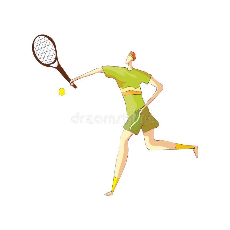Den manliga tennisspelaren tar bollen med en racket white f?r vektor f?r bakgrundsillustrationhaj royaltyfri illustrationer