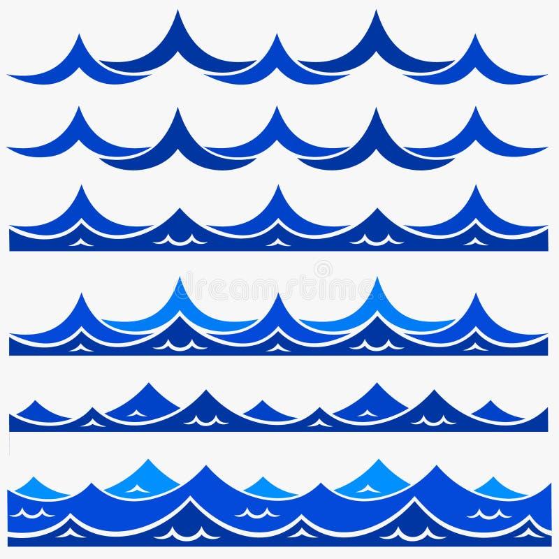 Den marin- sömlösa modellen med stiliserade blått vinkar på en ljus bakgrund Konst för design för vektor för abstrakt begrepp för royaltyfri illustrationer