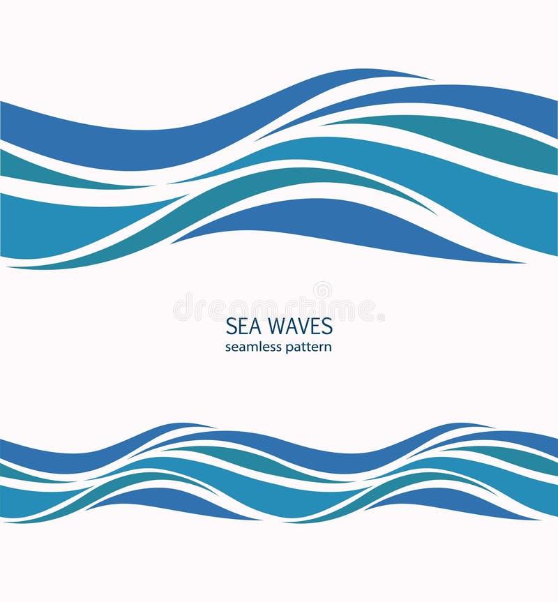 Den marin- sömlösa modellen med stiliserade blått vinkar på ett ljus tillbaka vektor illustrationer