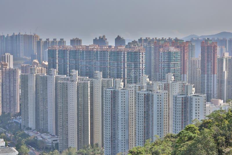 Den 22 mars 2020 i det offentliga huset i Hongkong i TKO arkivbild