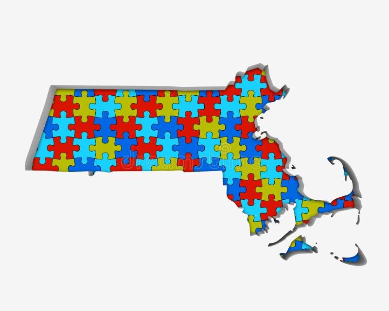 Den Massachusetts MODERN förbryllar stycköversikten som tillsammans arbetar 3d Illustrat stock illustrationer