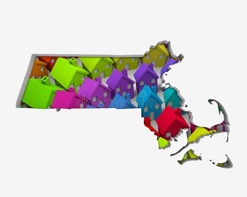 Den Massachusetts MODERN returnerar ny Real Estate för hemöversikten utveckling 3d vektor illustrationer