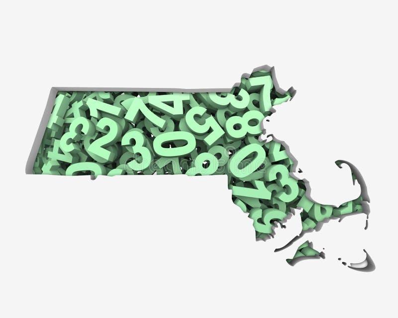 Den Massachusetts MORöversikten numrerar matematikdiagram ekonomi 3d Illustratio royaltyfri illustrationer