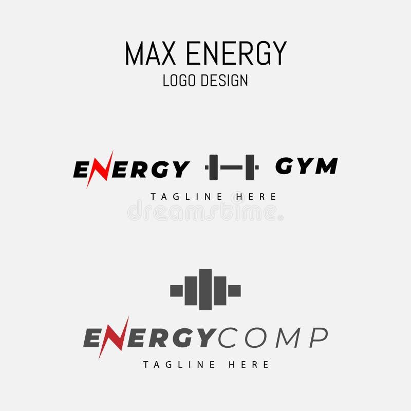 Den maximala energilogodesignen gurglar iconic royaltyfri illustrationer