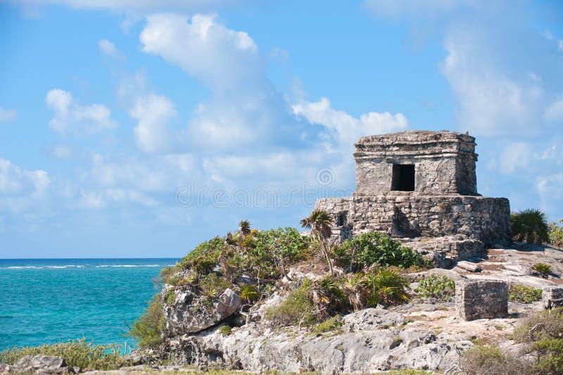 den mayamexico halvön fördärvar tulumen yucatan arkivfoton