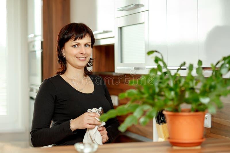 Den medelåldersa kvinnan torkar disken i köket royaltyfria foton
