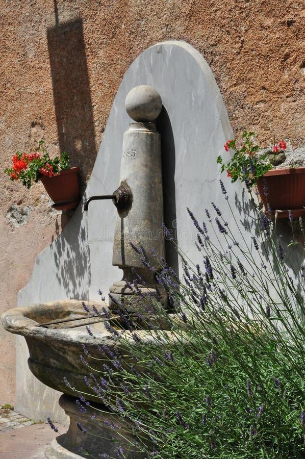 Den medelhavs- den vattenspringbrunnen, lavendel och pelargon blommar fotografering för bildbyråer