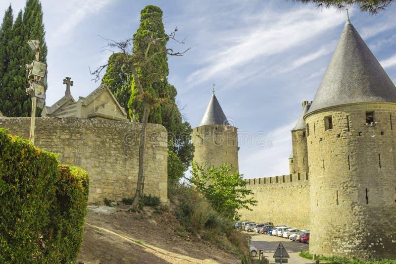 Den medeltida fästningen av Carcassonne arkivfoto
