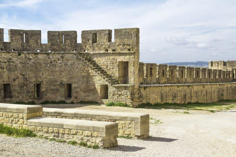 Den medeltida fästningen av Carcassonne arkivfoton
