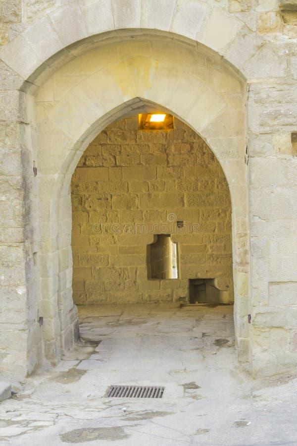Den medeltida fästningen av Carcassonne royaltyfri foto