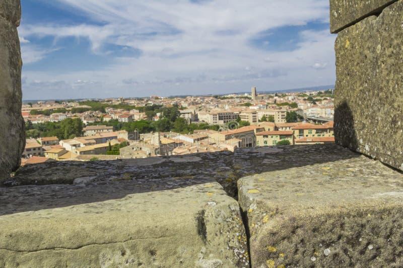 Den medeltida fästningen av Carcassonne royaltyfri bild