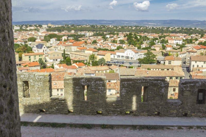 Den medeltida fästningen av Carcassonne royaltyfri fotografi