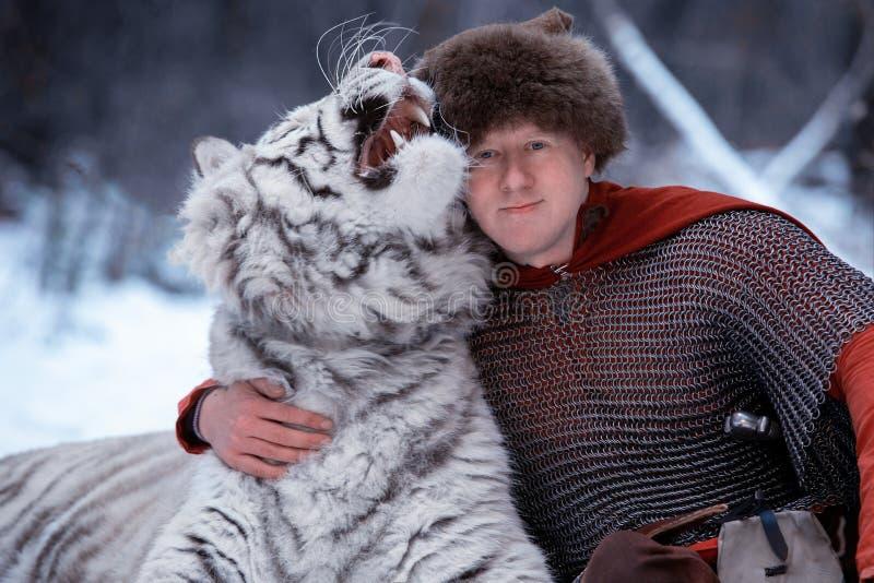 Den medeltida krigaren kramar den vita tigern i skog fotografering för bildbyråer