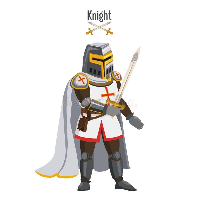 Den medeltida riddaren i harnesken, warroir, med ett svärd i hans hand, kappan, hjälm, tillskrivar Vektor illustration, tecknad f stock illustrationer