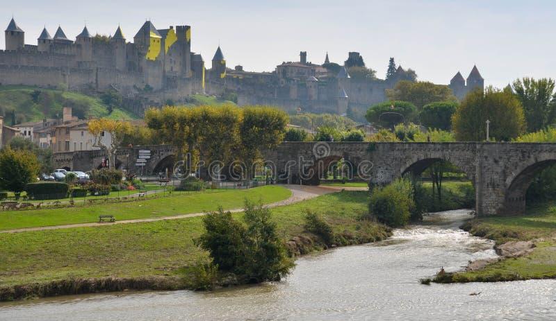 Den medeltida staden av Carcassonne royaltyfri fotografi