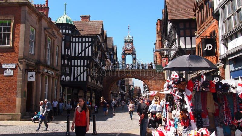 Den medeltida staden av Chester i England arkivfoton
