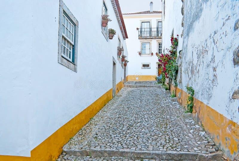 Den medeltida staden av Obidos arkivbild